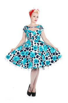 5a5fa0a61eaf Poppy Blå prikkede kjole