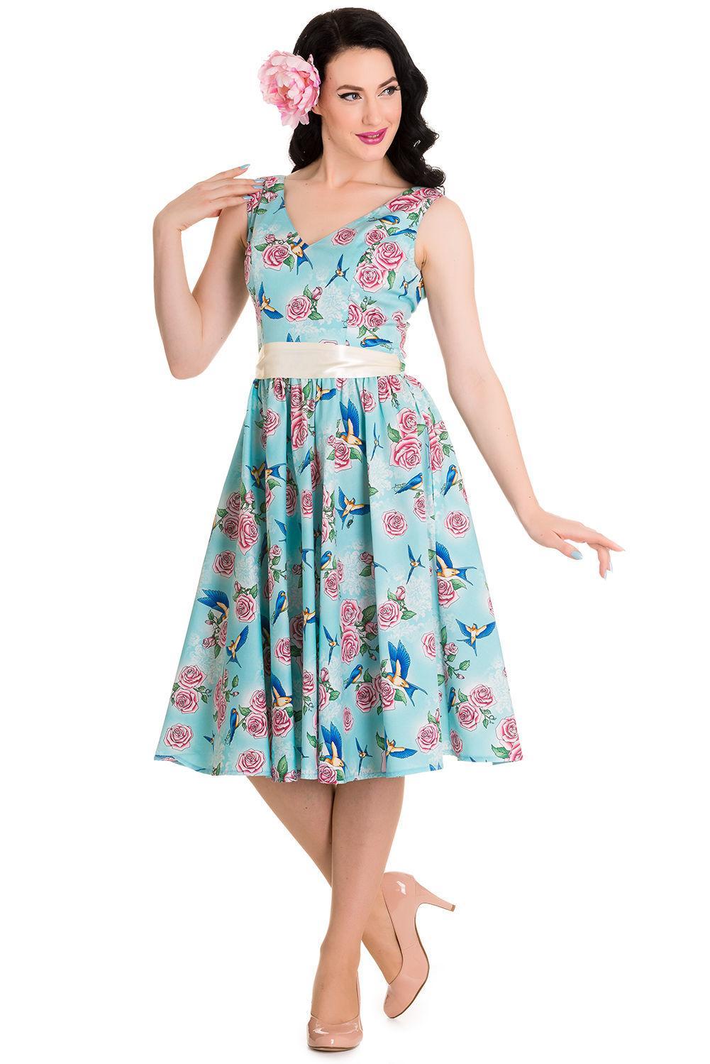 66c31d45790f Køb Blå kjole med blomster og fugle - Price  499