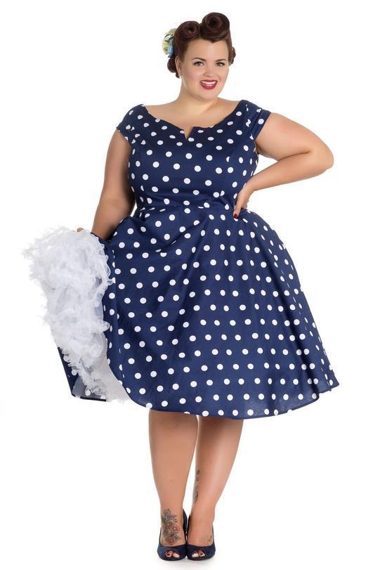 fc7878fd62af Køb Anni 50er mørkeblå kjole + Size - Price  499