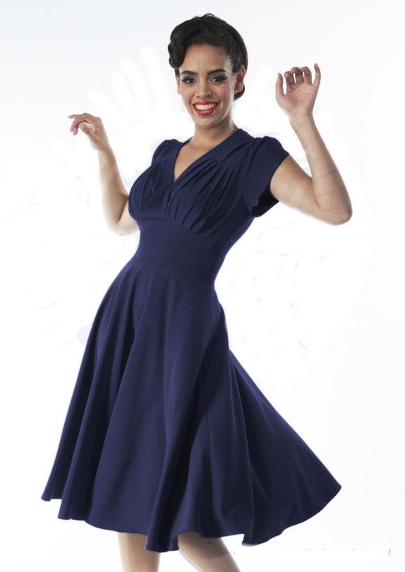 Retro swing kjole i navy