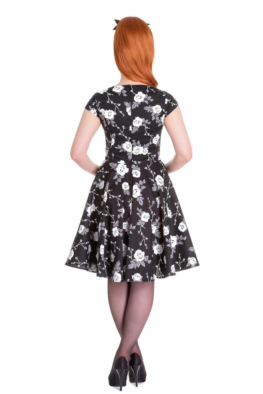 a22194f1d673 Buy Sort kjole med hvide og grå roser - Offer   104.45
