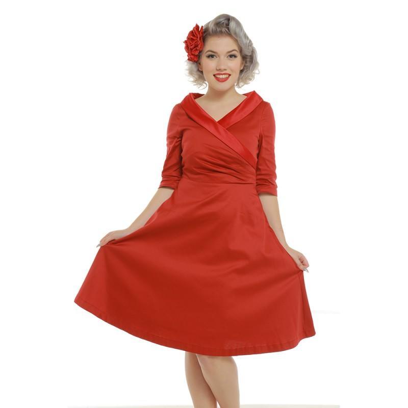 c39f3e3179b Køb Ilona-rød kjole med ærmer - Price: 250,00,-